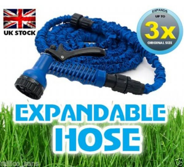 BLUE 50ft EXPANDING MAGIC POWERFUL HOSE PIPE GARDEN WITH FREE 7 SPEED SPRAY